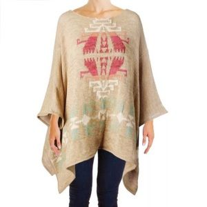 Lauren Ralph Lauren Taynia Tribal Poncho Sweater